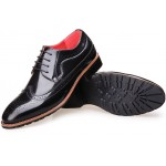 Black Glossy Vintage Leather Lace Up Mens Oxfords Flats Dress Shoes