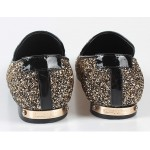 Black Gold Glitter Bling Bling Mens Oxfords Loafers Dress Shoes Flats
