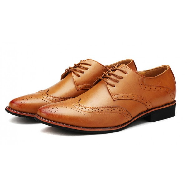 Brown Vintage Leather Lace Up Mens Oxfords Flats Dress Shoes