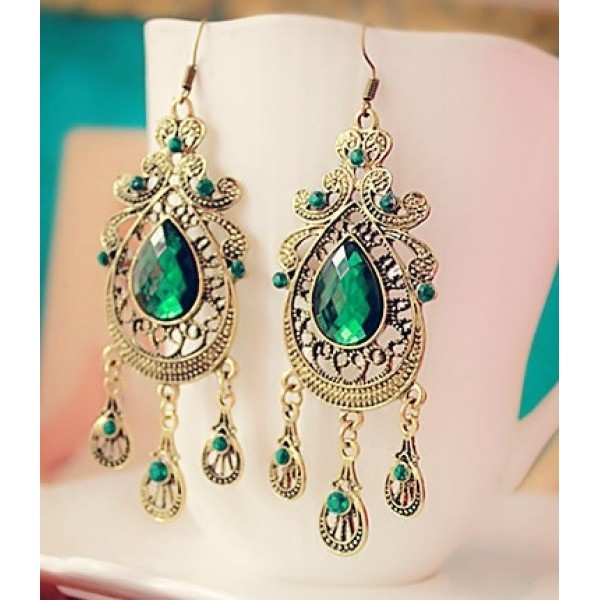 Green Gemstone Gold Bohemian Boho Ethnic Glamorous Earrings Ear Drops
