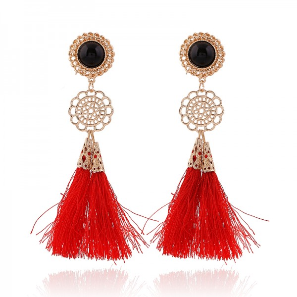 Red Gold Bohemian Boho Enthic Glamourous Tassel Earrings Ear Drops