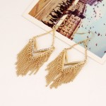 Gold Silver Metal Tassels Diamante Bohemian Earrings Ear Drops