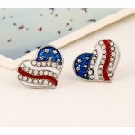 Red Blue USA Flag Diamante Heart Earrings Ear Pins