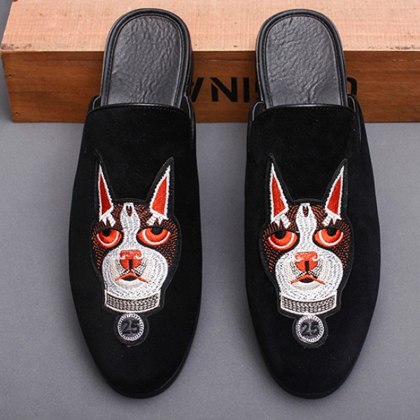 Black Embroidered Cat Mens Formal Slip On Flats Sandals Loafers