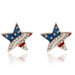 Red Blue USA Flag Diamante Star Earrings Ear Pins