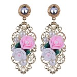 Gold Flowers Roses Pearls Rhinestones Baroque Fancy Earrings Ear Drops