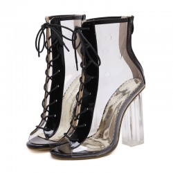 Transparent Black Lace Up PU Peep Toe Glass High Heels Boots Shoes