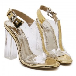 Transparent Gold Slingback PU Peep Toe Glass High Heels Shoes