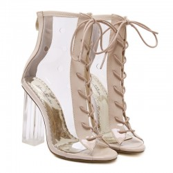 Transparent Khaki Lace Up PU Peep Toe Glass High Heels Boots Shoes