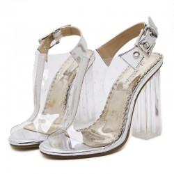 Transparent Silver Slingback PU Peep Toe Glass High Heels Shoes