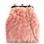 Pink Glamorous Rabbit Fur Evening Clutch Purse Jewelry Box