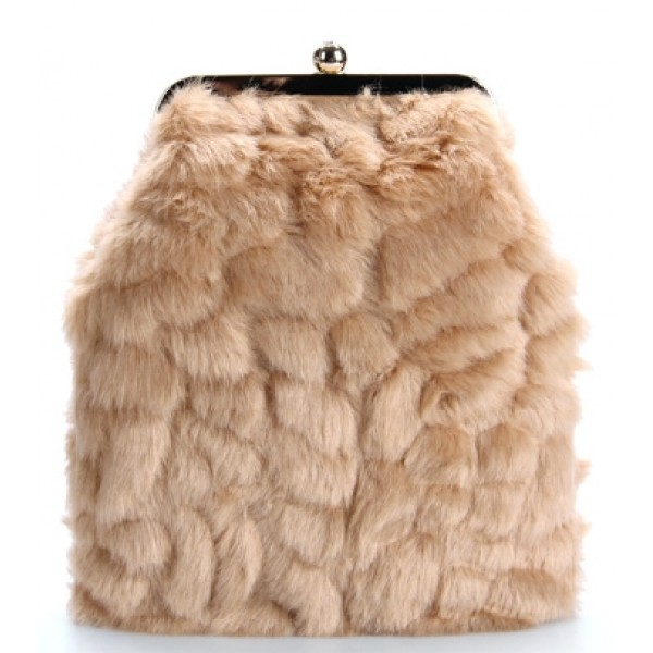 Khaki Brown Glamorous Rabbit Fur Mink Evening Clutch Purse Jewelry Box