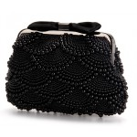 Black Pearls Beads Bow Vintage Bridal Glamorous Evening Clutch Purse