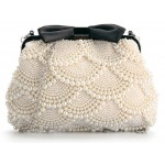 White Cream Pearls Black Bow Vintage Bridal Glamorous Evening Clutch Purse