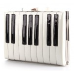 White Patent Lether Piano Keyboard Rectangular Evening Clutch Purse Jewelry Box