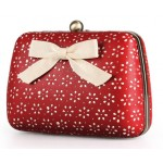 Red Vintage Hollow Out Pink Bow Glamorous Evening Clutch Purse Jewelry Box