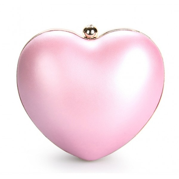 Pink Pearl Heart Diamante Evening Clutch Purse Jewelry Box