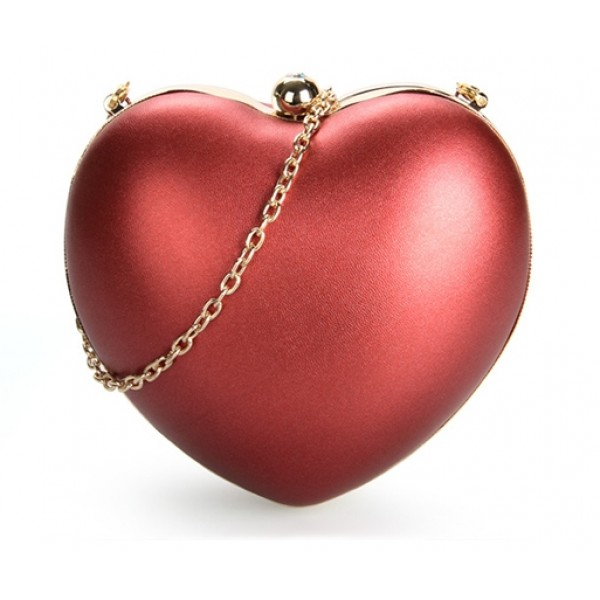 Red Pearl Metallic Heart Diamante Evening Clutch Purse Jewelry Box