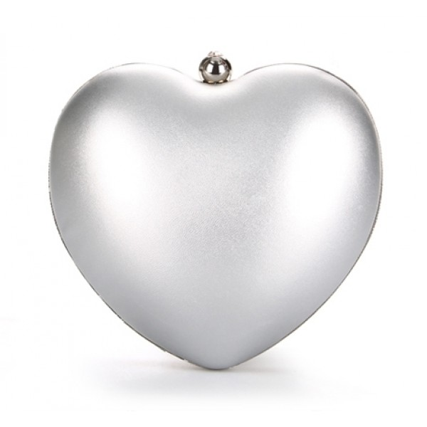 Silver Pearl Heart Diamante Evening Clutch Purse Jewelry Box