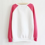Pink Polkadots Hello Kitty Long Sleeve Fleece Sweatshirts Tops