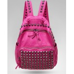 Pink Fushia Square Studs Soft Lambskin Vintage School Punk Rock Bag Rider Backpack