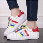 White Rainbow Lace Up Red Lips Sneakers Flats Shoes