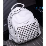 White Square Studs Soft Lambskin Vintage School Punk Rock Bag Rider Backpack