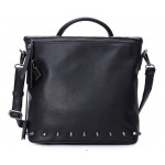 Black Square Blunt Studs Vintage School Punk Rock Hobo Bag Mini Backpack