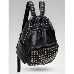 Black Square Studs Soft Lambskin Vintage School Punk Rock Bag Rider Backpack