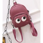 Burgundy Cartoon Cute Eyes Mini Backpack Cross Body Bag