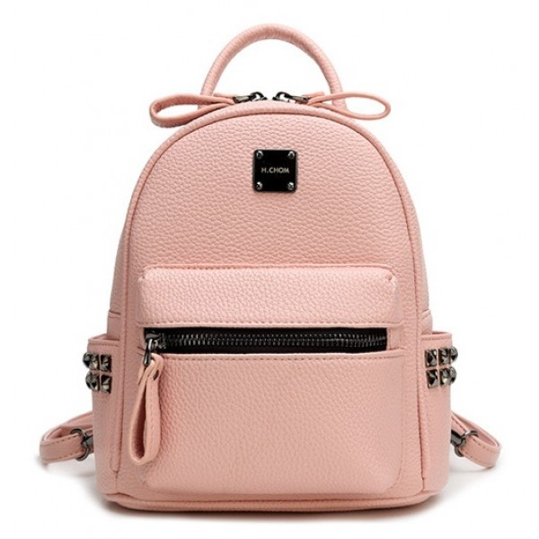 Pink Black Grey Metal Studs Punk Rock Mini Backpack Cross Body Bag