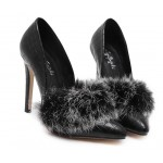 Black Faux Fur Mink Point Head High Stiletto Heels Shoes