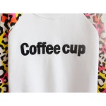 White Blue Grey Leopard Print Coffee Cup Fleece Long Sleeve Sweatshirts Tops