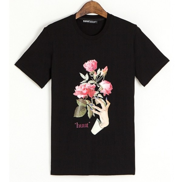 Black Weird Hands Pink Roses HUUT Short Sleeves Mens T-Shirt