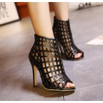 Black Gladiator Sqaure Hollow Out Bird Cage Peep Toe Stiletto High Heels Sandals Shoes