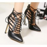Black Gladiator High Heels Sexy Pointed Toe Cut Out Strappy Lace Up Stiletto Heels Shoes