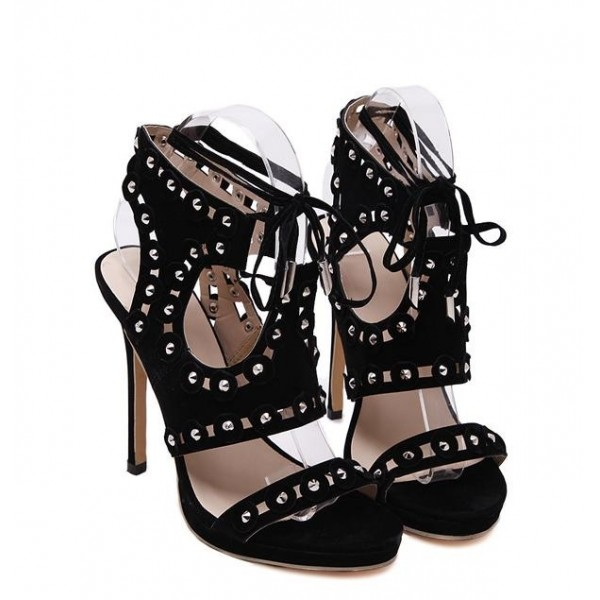 Black Suede Gladiator Rivets Studs Punk Rock Lace Up Stiletto High Heels Sandals Shoes