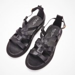 Black Leather Straps Camouflage Sole Slingback Mens Roman Gladiator Sandals