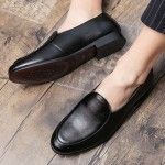 Black Vintage Slip On Loafers Dress Dapper Man Shoes Flats