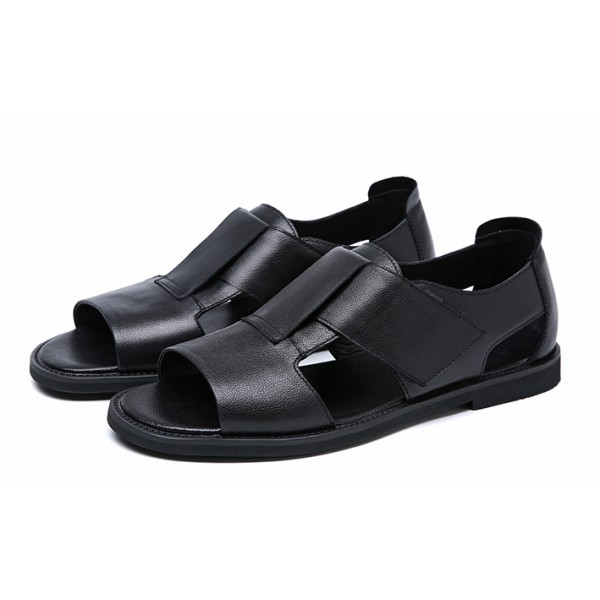 Black Wide Straps Fashion Mens Roman Gladiator Sandals