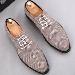 Brown White Plaid Houndstooth Checkers Tartan Oxfords Dress Dapper Man Shoes Flats