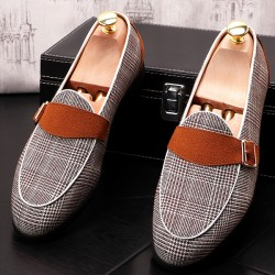 Black White Brown Houndstooth Loafers Dress Dapper Man Shoes Flats