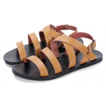 Brown Thin Straps Slingback Mens Roman Gladiator Sandals