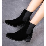Black Velvet Suede Back Bow Chelsea Punk Rock Flats Boots Shoes