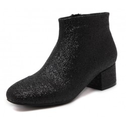 Black Glitter Blunt Head Chelsea Ankle Boots Shoes
