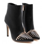Black Gold Metal Studs Point Head High Stiletto Heels Mid Boots Shoes