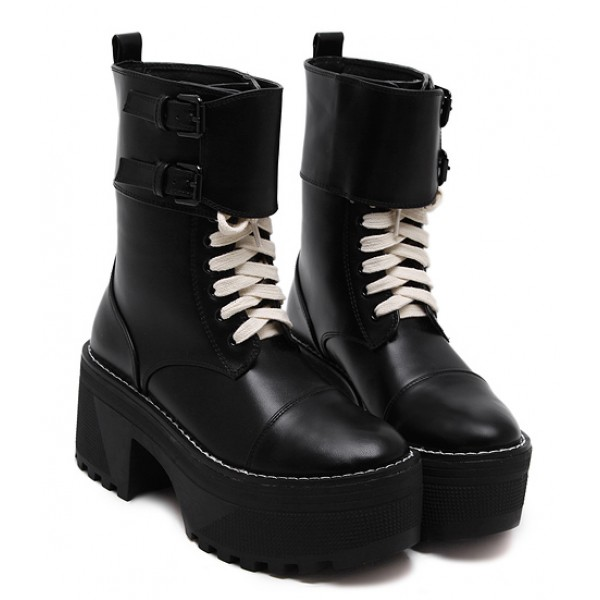 Black Lace Up High Top Platforms Punk Rock Chunky Heels Boots Shoes