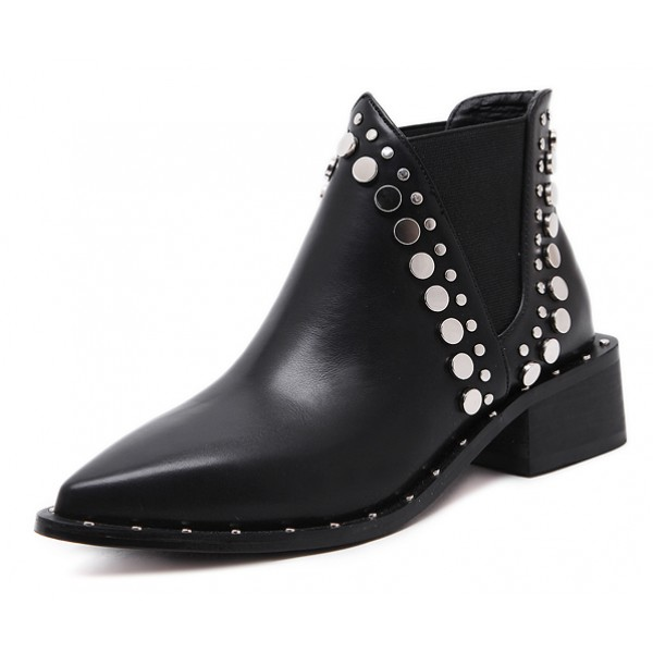 Black Metal Studs Point Head Punk Rock Chelsea Ankle Boots Shoes