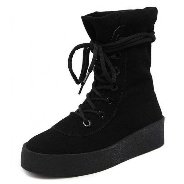 Black Suede Lace Up HIgh Top Sneakers Combat Boots Shoes