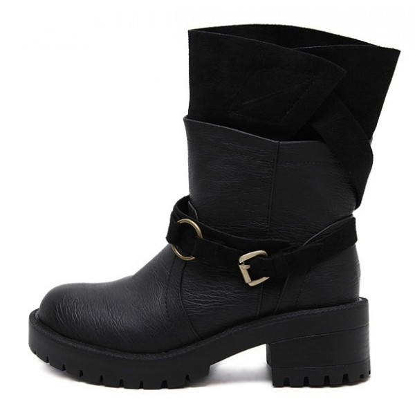 Black Suede Long Combat Military Rider Boots Shoes